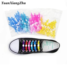 12Pcs/Set Fashion shoelace Unisex Women Men Athletic Running No Tie Lazy Shoelaces Elastic Silicone Shoe Lace All Sneakers Strap