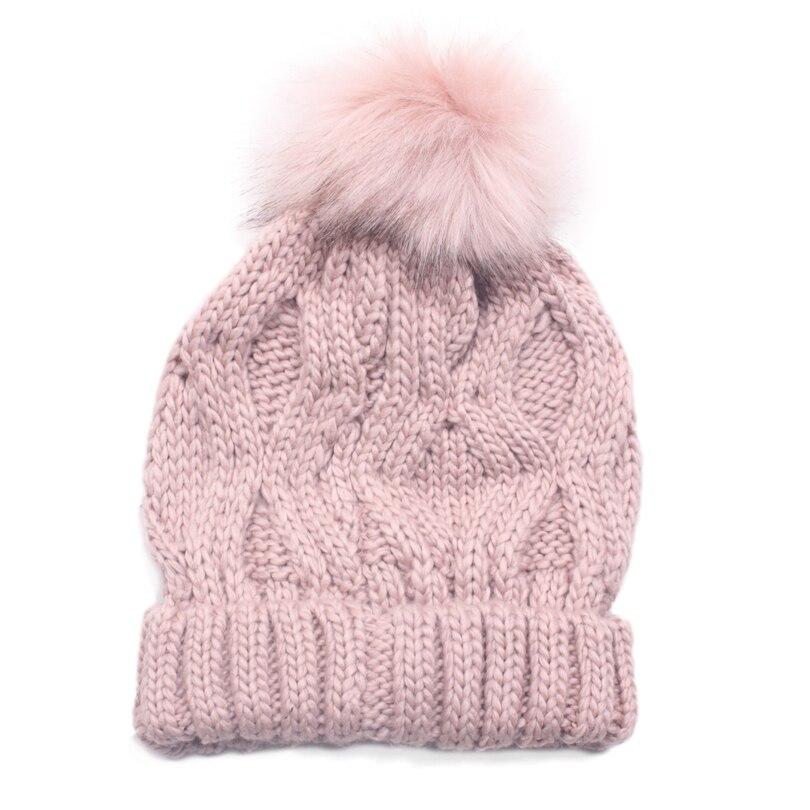 Pompom Faux Fur Ball   Beanies   Hat For Women Winter Warm Acrylic Cotton Knit Pink Hat Gorros   Skullies   Casquette Winter Pom Pom Cap