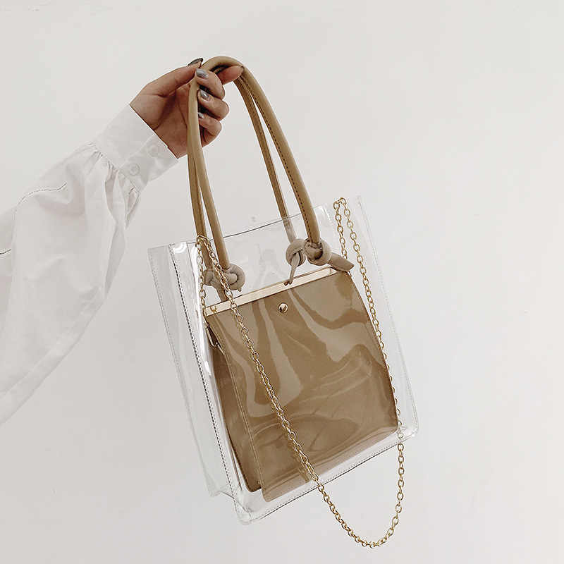 Transparent bag women 2019 new Korean version of Joker fairy messenger bag chain fashion handbags