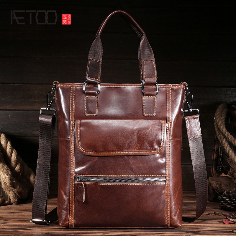 AETOO high-end men's leather first layer of leather business package vertical shoulder Messenger bag leather handbag briefcase high end of the first layer of litchi grain leather bucket bag basket classic bag handbag small women