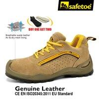 Marca transpirable Hombres de Botas con Puntera de Acero Zapatos De Seguridad Calzado de Trabajo de Cuero Ligero Zapatos de Trabajo Tamaño EE.UU. 4-13