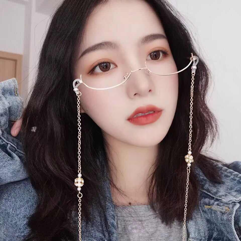 New Lady 39 s Half Frame Glasses Eyewear Crystal Water Drop Pendant Chain Glasses Women Without Lens Trend Eyeglass Frames 2019 in Women 39 s Eyewear Frames from Apparel Accessories