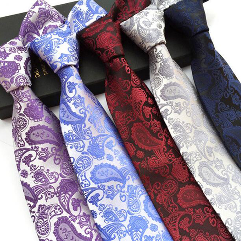 Ricnais New Arrival Mens Paisley Tie Silk Necktie 8cm Fashion Classic Red Black Neck Ties For Man Business Wedding Party