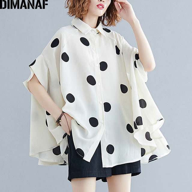 DIMANAF Plus Size Women Blouse Shirt Big Size Summer Casual Lady Tops Tunic Print Polka Dot Loose Female Clothes Batwing Sleeve 1