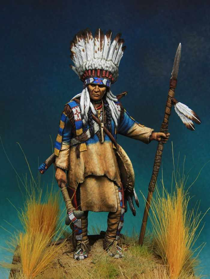 Unassambled  1/24 75MM Plains warrior ANCIENT 75MM  Historical  Resin figure miniature model Unpainted