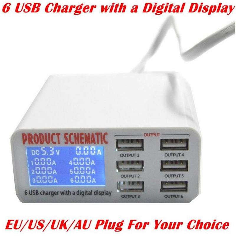 Port Charger Adapter With Digital Display: High Quality 6 Port USB Charger With Digital Display Fast