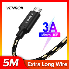 Venroii USB Kabel Micro USB untuk Samsung A7 S7 Xiaomi Redmi Note 5 6 Pro Huawei Honor 8X9 Ponsel ponsel Cepat Pengisian Data Sync Kable(China)