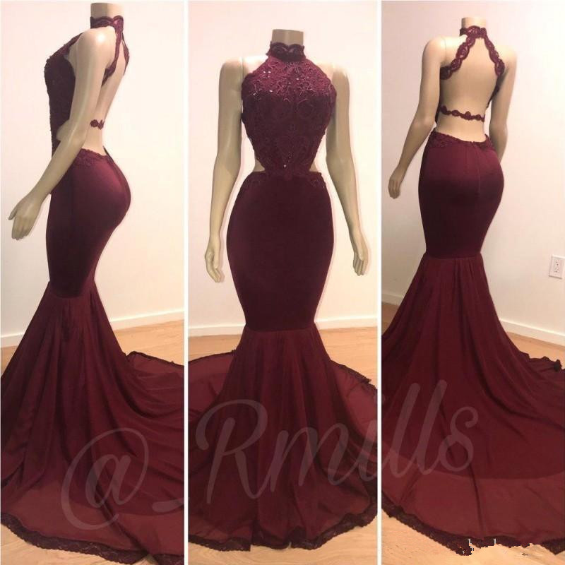 Burgundy Robe De Soiree 2019 Mermaid High Collar Lace Beaded Backless Long Women Party   Prom     Dresses     Prom   Gown Evening   Dresses