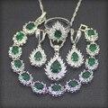 Queda de 925 Conjuntos de Jóias de Prata Esterlina Criado Verde Esmeralda Branco Topázio Jóias Mulheres Brinco/Pingente/Colar/Pulseira/anel