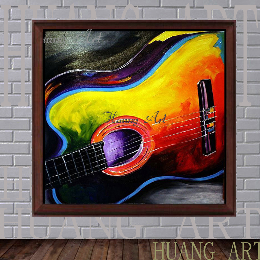 Hand Painted Oil Painting Guitar Abstract Rock And Roll