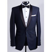 Two Piece Navy Wedding Tuxedos for Groomsmen Suit 2018 Shawl Lapel One Button Custom Made Business Men Suits ( Jacket + Vest )