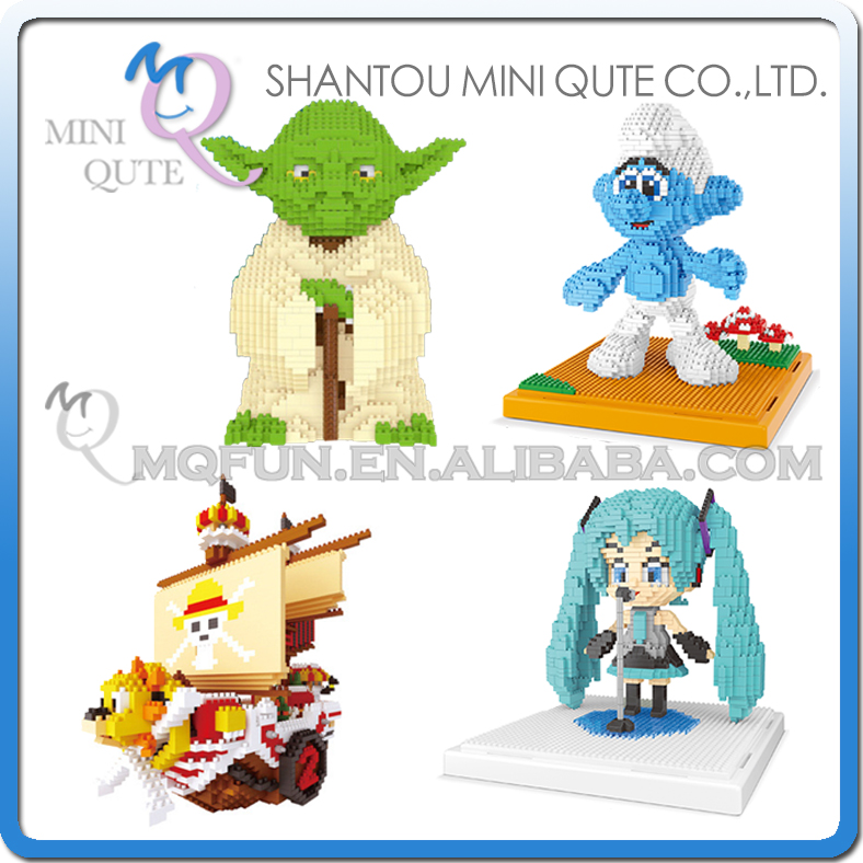 Mini Qute WISE HAWK yoda Hatsune Miku THOUSAND SUNNY plastic building blocks bricks Anime cartoon action figures educational toy