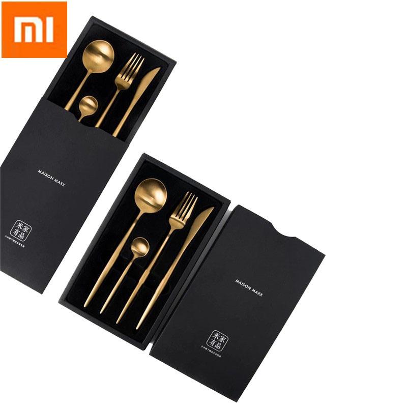 4 pièces ensemble Xiao mi mi maison couverts polis en acier inoxydable couverts noir/doré/argent ensembles de vaisselle