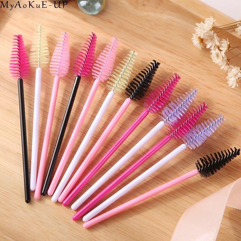 1000 pcs lot Wholesale 19 colors Mix Disposable Water Drop Shape Eyelashes Brush Eyelash Extension Mascara