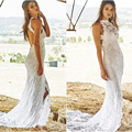 Fashion Lace Boho Beach Wedding Dresses Halter Backless High Slit Casual Bohemian Wedding Dress Lace Sexy Wedding Gown PB04