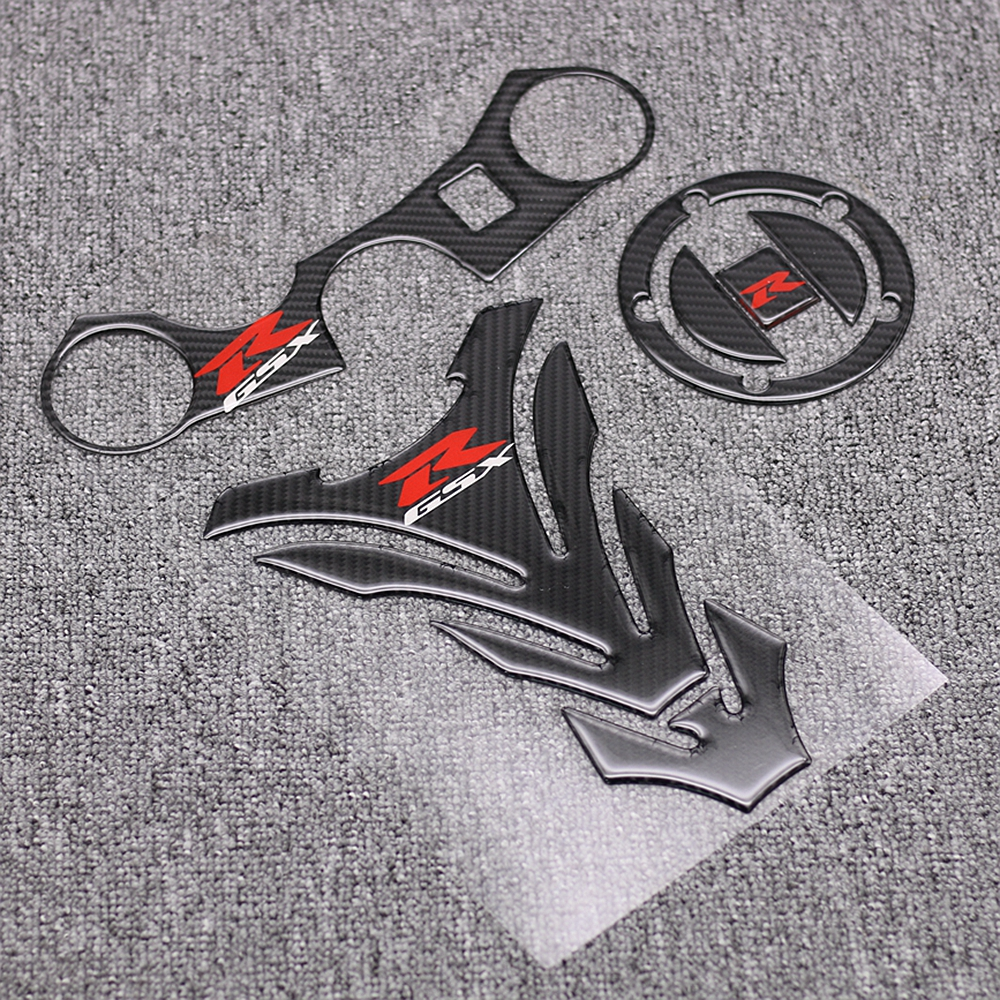 Motorcycle GSX-R Tank Cap Pad Front End Upper Top Clamp Carbon Sticker Decal For Suzuki GSXR 600 750 2006 2007 2008 2009 K6 K8