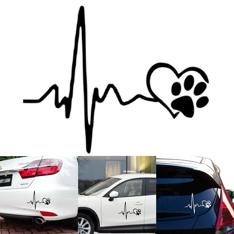 Heartbeat Love Dog Paw Footprint Bumper Window Vinyl Sticker Decal 13CM x 10.3CM