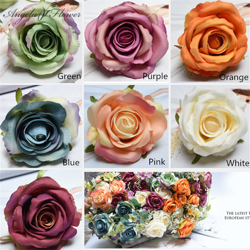 100PCS lot Rose Flower Head Artificial Flowers Wedding Party Christmas Olympics Home Decoration Multicolor Craft Ornaments