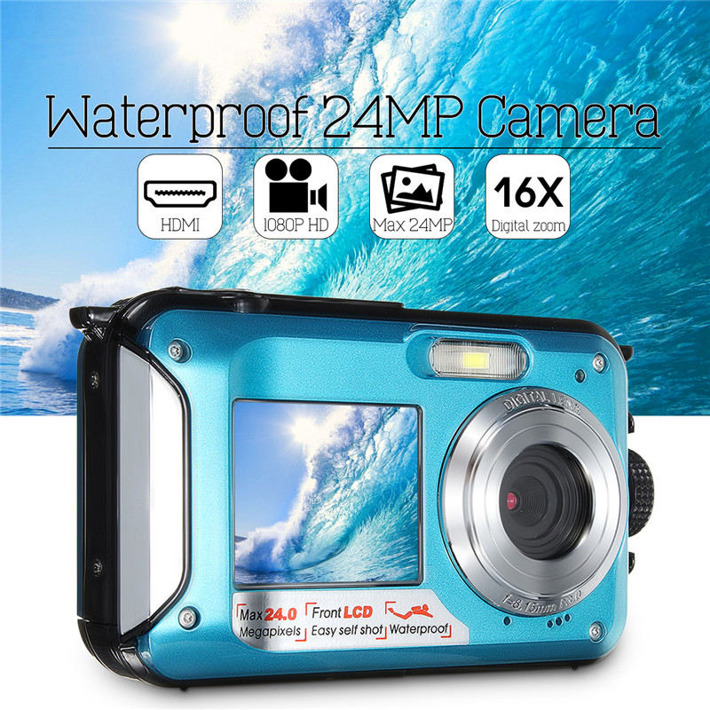 Dual 2.7 LCD HD Waterproof Digital Video Camera 24MP MAX 1080P Double Screen 16x Zoom Underwater Sports Camcorder Camera Mic casual shorts modis m181d00261 men cotton shorts for male tmallfs