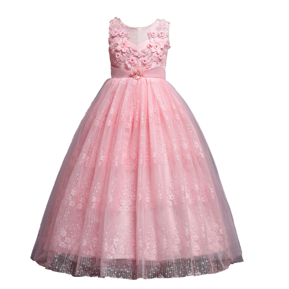 Applique Flower Long Prom Gowns Teenager Dress for Girl Children Party Clothing Kids Evening Formal Dress for Bridesmaid WeddingApplique Flower Long Prom Gowns Teenager Dress for Girl Children Party Clothing Kids Evening Formal Dress for Bridesmaid Wedding