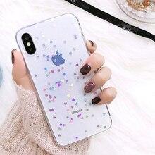 Iphone 7 8 artı iphone XR XS X 10 için Kılıf Glitter Yıldız Sevimli Silikon Coque Kapak için iphone XS MAX XR X iphone 6s 6s plu...
