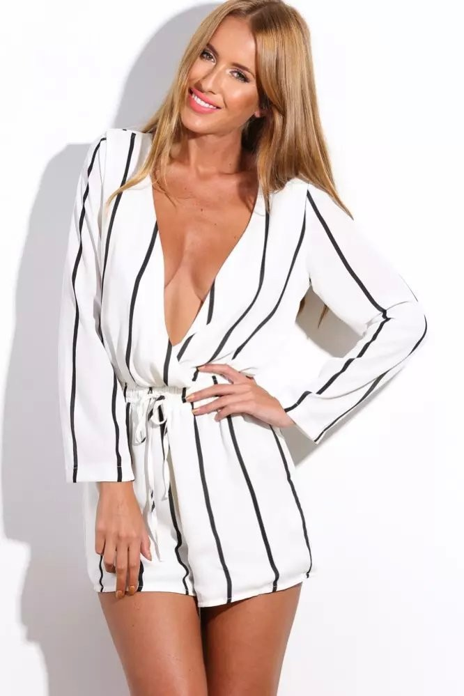 Long Sleeve Stripes Cut Out Back Shorts Jumpsuit 1