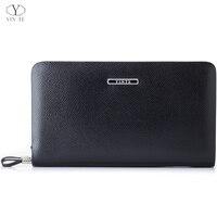 YINTE męskie portfele kopertówki skórzany biznes zamek portfel słynny styl czarny kopertówka paszport torebka męskie torby na rękę T036 2 w Portfele od Bagaże i torby na