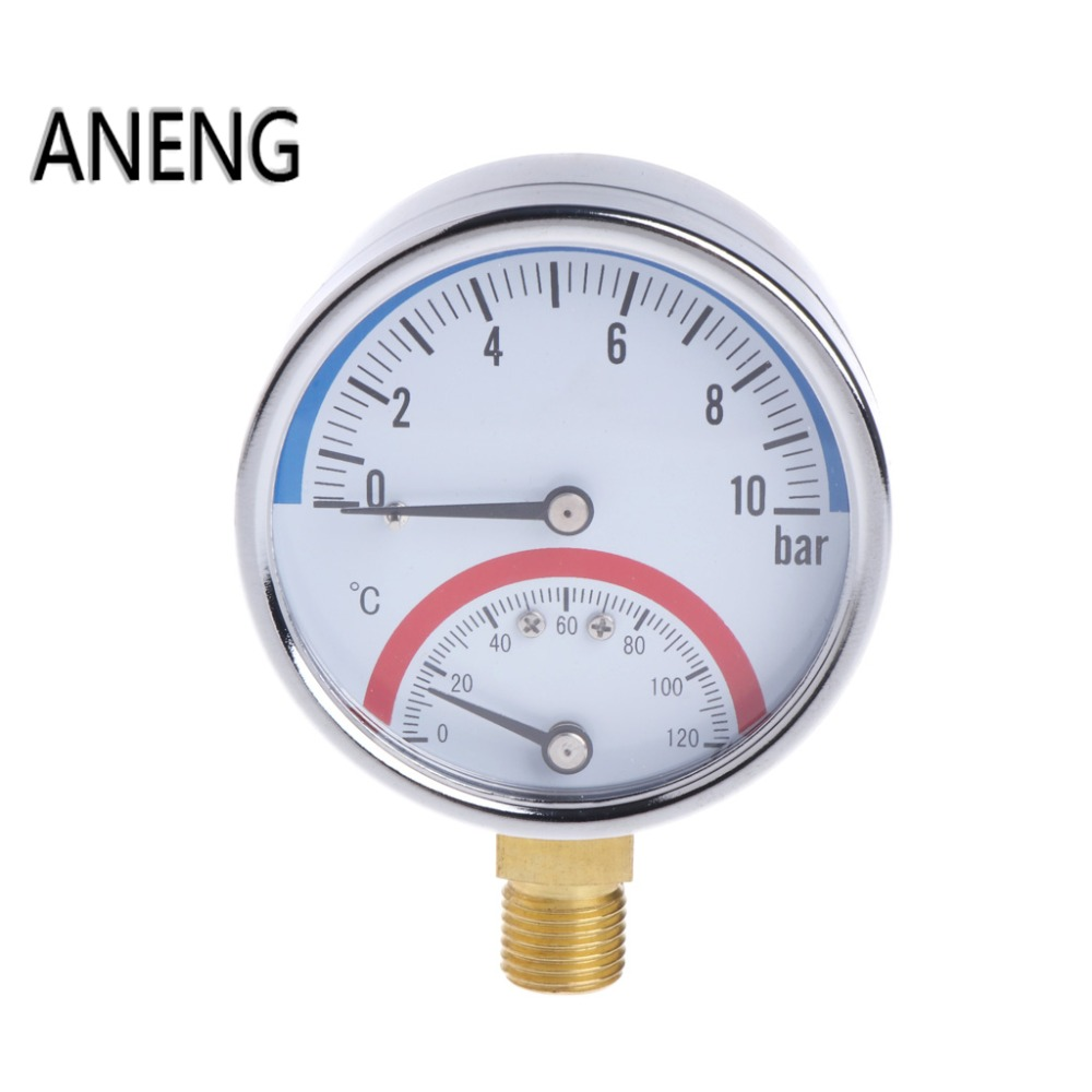 ANENG 10 Bar Temperature Pressure Gauge Meter G1/4 Thread 2 in1 Thermometer Monitor