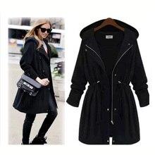 2016 Autumn and winter large size women Europe and America windbreaker coat female medium long slim jacket