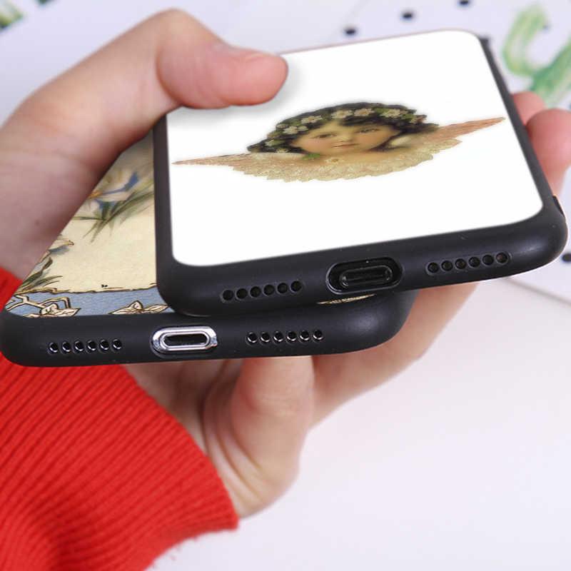 独占自家製油絵かわいい天使アニメソフトシリコーン電話ケース iphone X XS 最大 XR 7 8 6 6 S プラス 5 S 、 SE