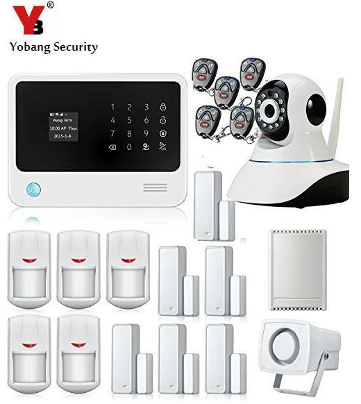 Yobang Security- Touch keypad LCD display WIFI GSM IOS Android APP Wireless Home Burglar Security Alarm System + HD IP Camera
