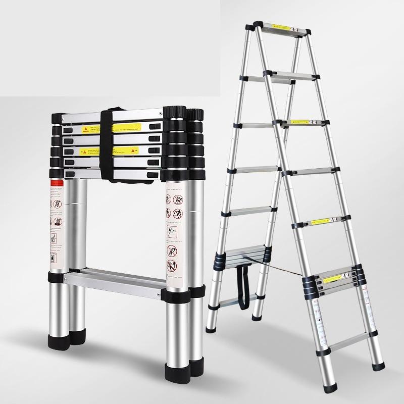 Двойная 3,2 м Многофункциональная лестница из алюминиевого сплава портативная телескопическая лестница Бытовая Складная алюминиевая стремянка