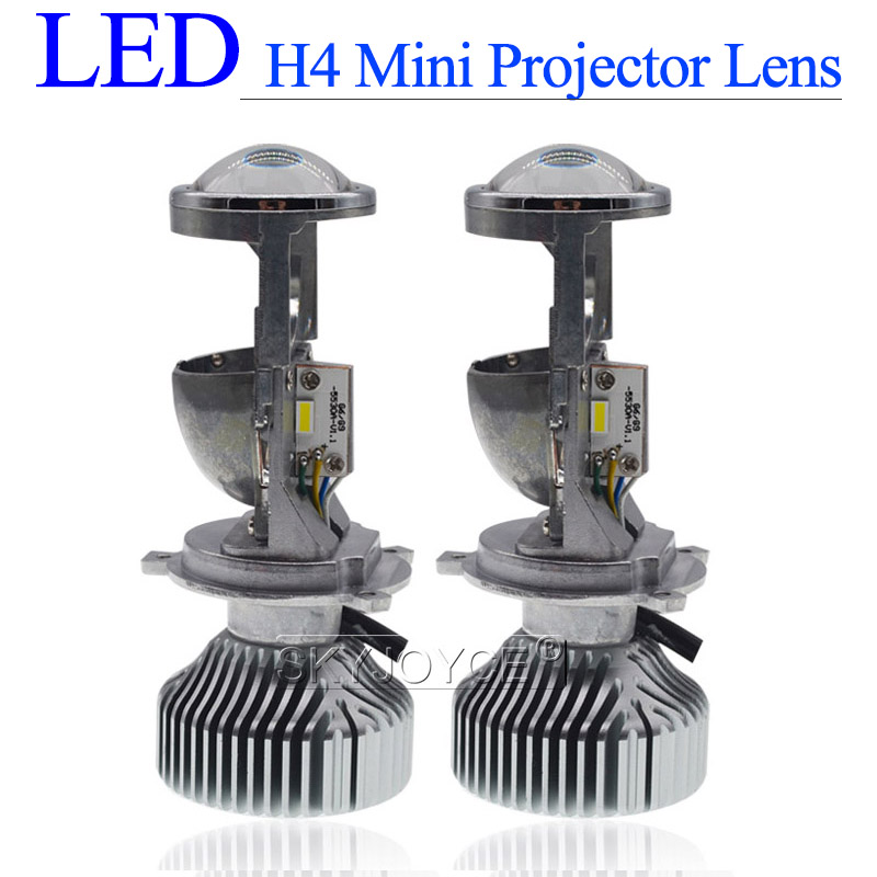 Mini Bi LED H4 Projector Lens 35W H4 Hi/Lo Beam LED Headlight Bulb 5500K White Auto Car 70W LHD RHD H4 Bixenon Projector Lens
