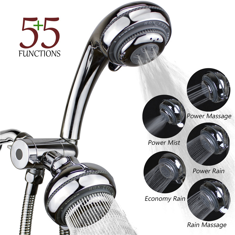 5 Mode Rainfall Shower Head / Handheld Combo ABS Chrome Shower Head ...