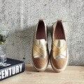 Zapatos de Mujer de Moda Casual 2017 Nueva Primavera Comodidad Slip On Punta Redonda Zapatos Mocasines Mocasines de Cuero Genuino de Las Mujeres de Plata de Oro