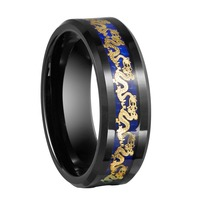 8mm Black Tungsten Carbide Ring With Gold Color Dragon Inlay Couples Weddings Engagement Rings Bands