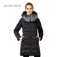 Women Winter Coat And Jacket Ladies Female Hooded Fox Fur Collar Warm Clothes Medium Length Women