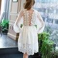 Fashionable dress кружева белый Vestidos 2017 Лето Элегантных Женщин Повседневная Твердые Тонкий Кружева Dress Топы Дамы Сексуальный Белый Dress F6839