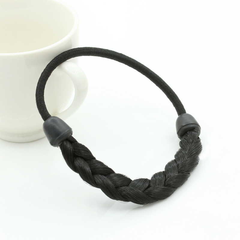 2pcs New Party Queen Hair Elastic Band Elegant Simple Black Rubber Band Hair Ring Ponytail Holder Braided Hair Tie