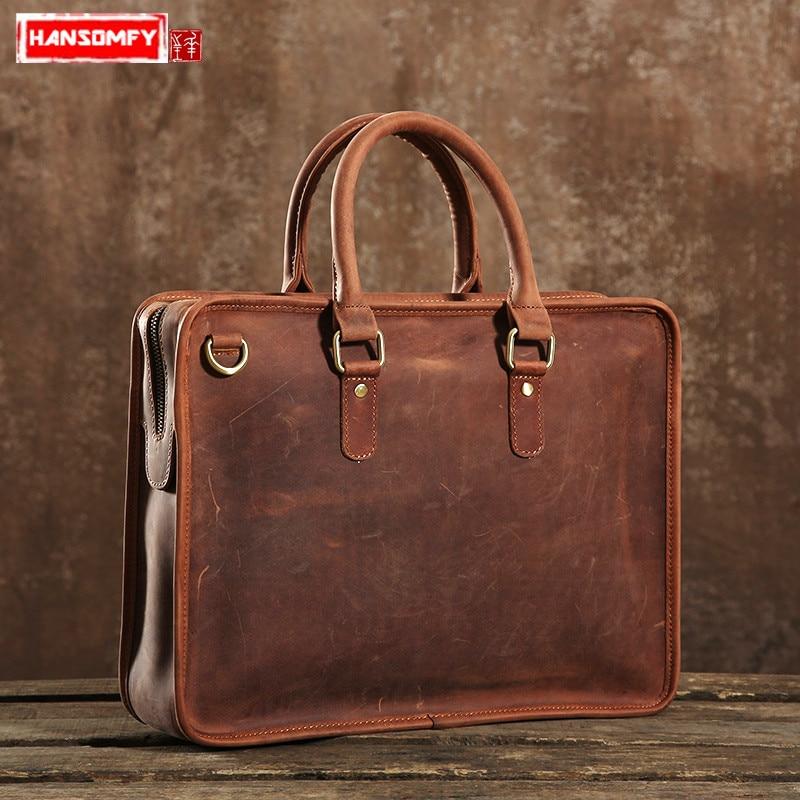 7e609840aa2a В стиле ретро из натуральной кожи мужская сумка просто оригинальный сумка  ручной работы мужской crazy horse