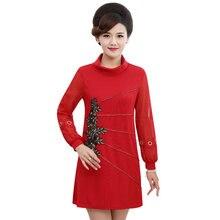 300ddff219ca WAEOLSA Donna di Stile Cinese Primavera Vestito Rosso Nero Con Stampa  Floreale Veste Femme Elegante Patchwork Abiti di Mezza Età..