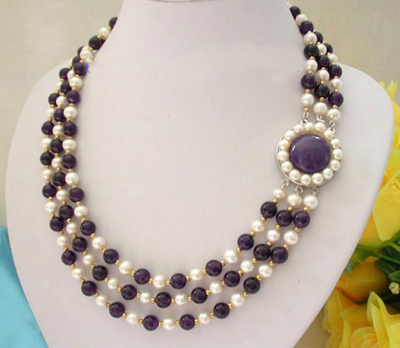 Stunning Real Pearl Jewellery, 3 Rows AA 7-8mm Purple Ame-thyst White Freshwater Pearls Necklace,New Free Shipping. pearl necklace classic 3 rows 7 8mm round white freshwater pearls green ja des necklace perfect women chirtstmas gift