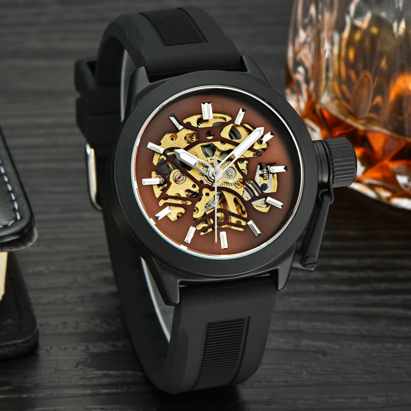Brand Designer Sports Cool Guys Casual Fashion Skeleton Mechanical Watches Self Winding Rubber Wristwatch Analog Relojes NW7031 luxury men brand crystals dress watches self winding mechanical 316l band calendar wristwatch saphir relojes analog 3atm nw4239