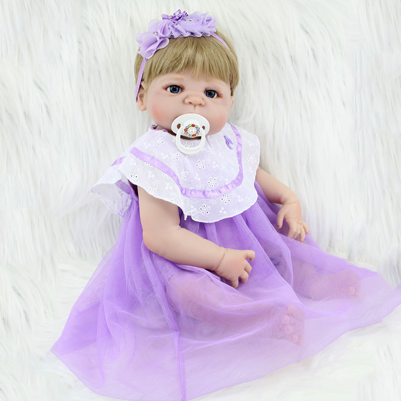 2017 Full Silicone Doll Reborn Baby Born Alive Dolls For Children House Player Partner Cute Babies-reborn Brinquedos Purple full house