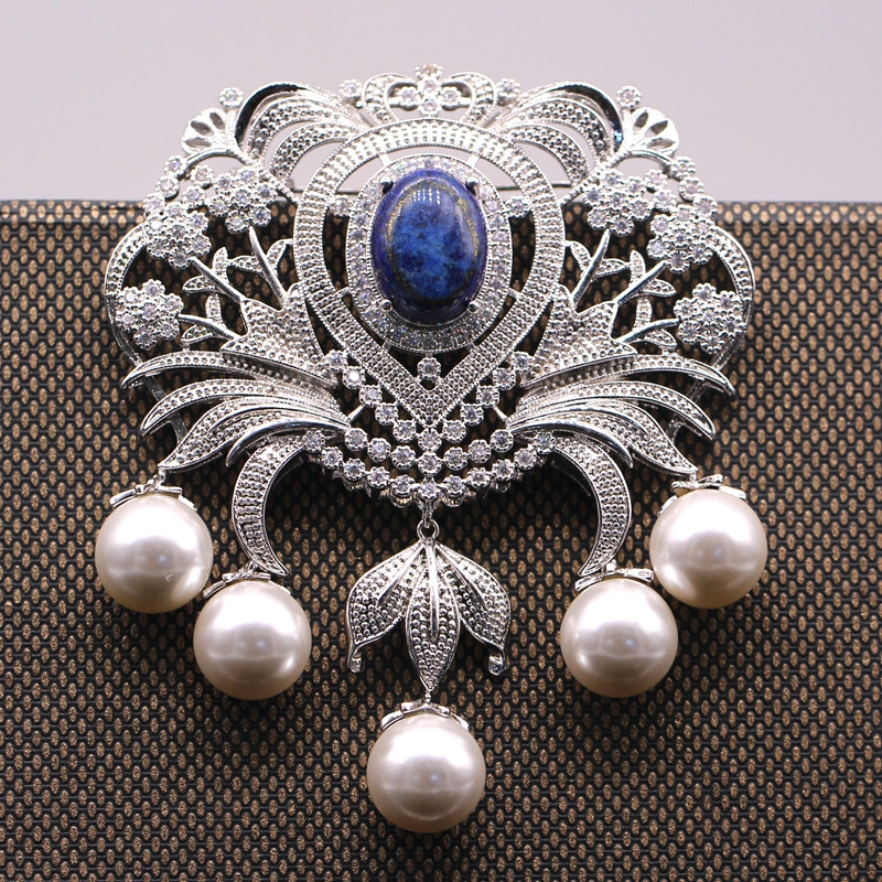 JINYAO Vintage Flowerl Pearl & Lapis Lazuli AAA Cubic Zircon Gold Color Brooch Pin / Pendant For Women բազմակողմանի զարդեր