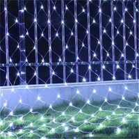 3X2M o 1.5X1.5M Net Mesh Luce della Stringa Ghirlanda di Scintillio star Outdoor Garden Festa di Nozze tenda di finestra Fata Decorazione di Festa