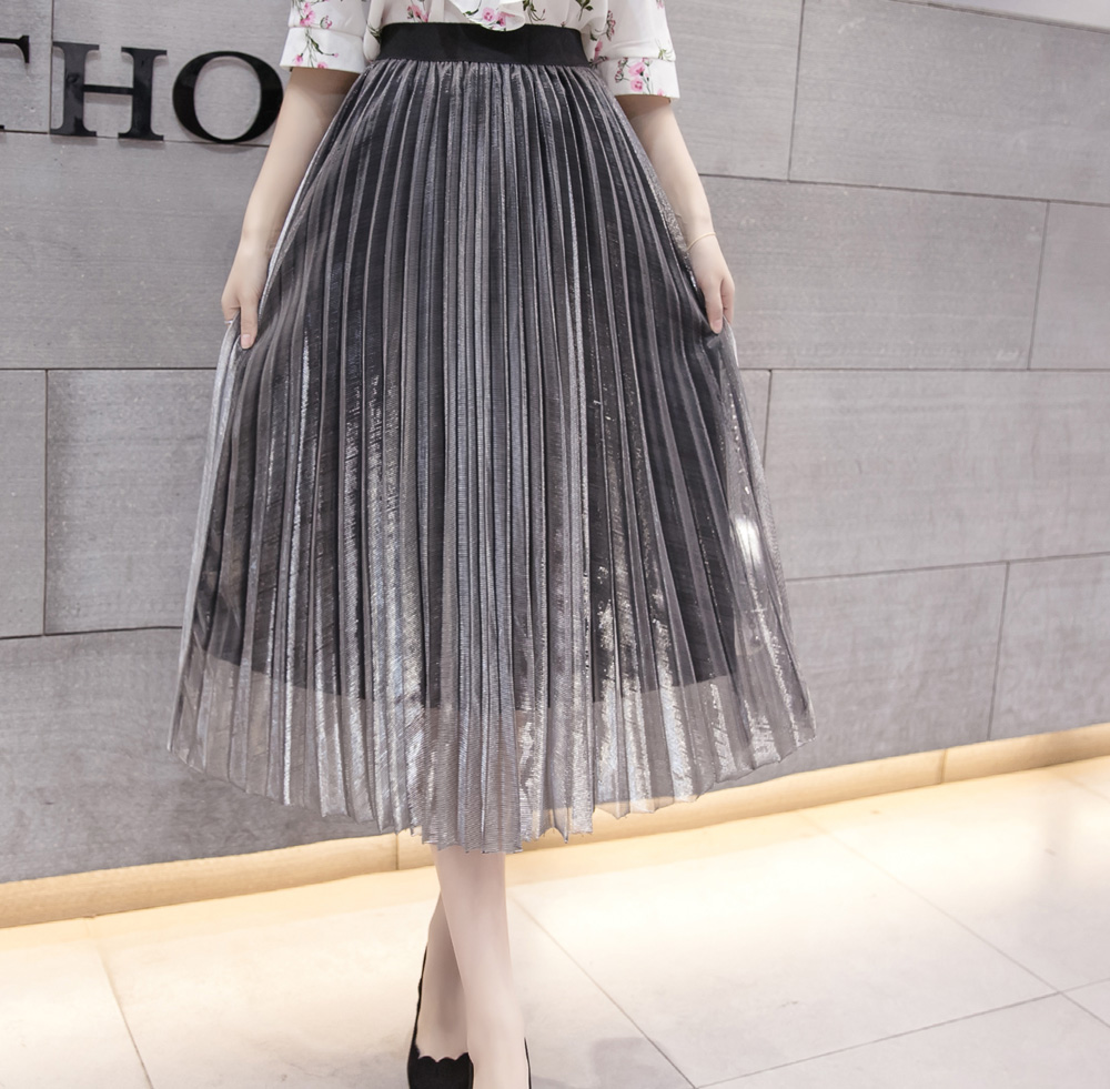 Image 3 - Women Summer Pleated Skirts 2019 Mesh Midi Saia High Waist Vintage Lace Lady Skirt Jupe Femme Falda Etek Mujer Gray Purple Green-in Skirts from Women's Clothing