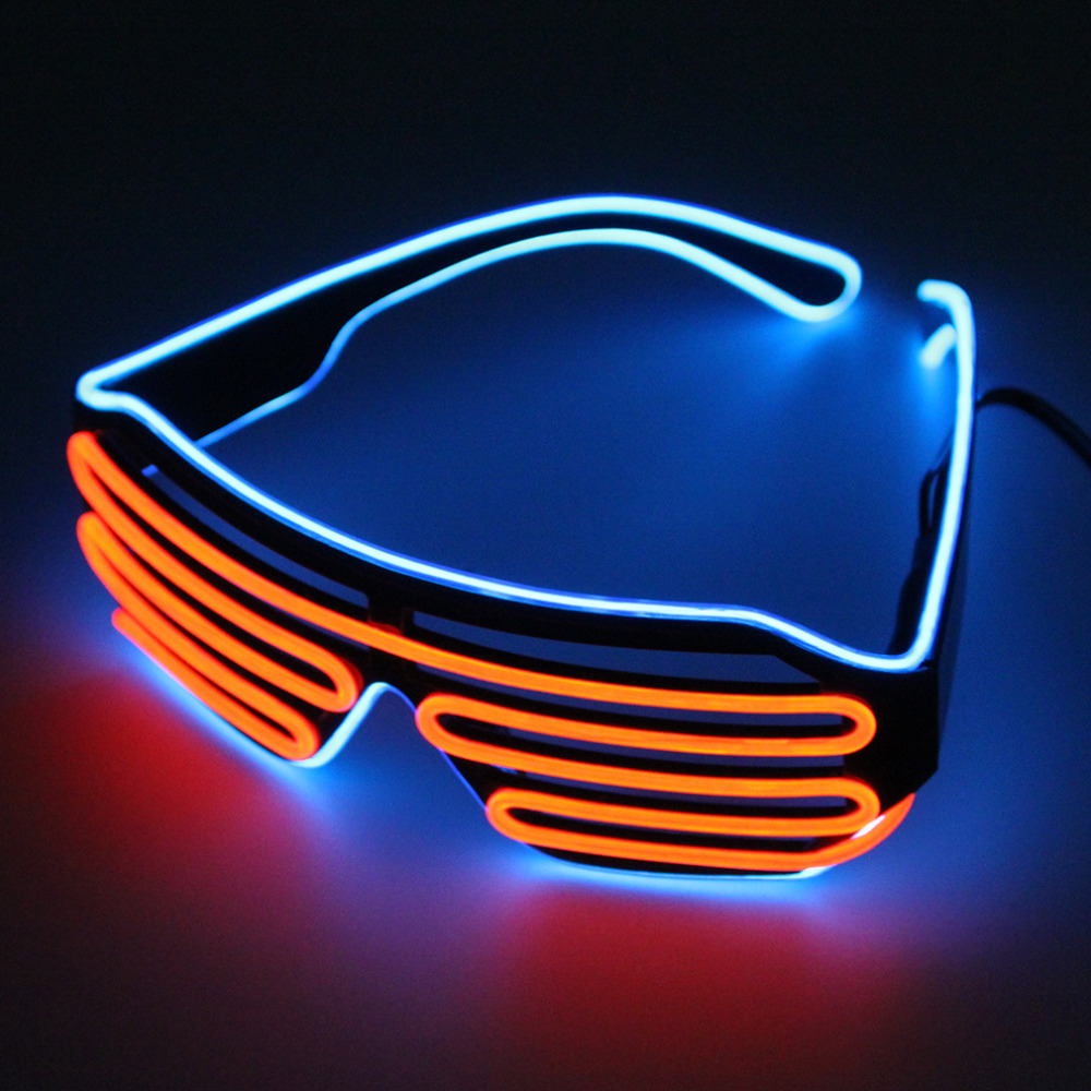 Double Color Glow LED EL Glasses Wire sunglasses Light Up Shades Flashing Rave Festival Party Bright Glasses New 2018 Hot Sales