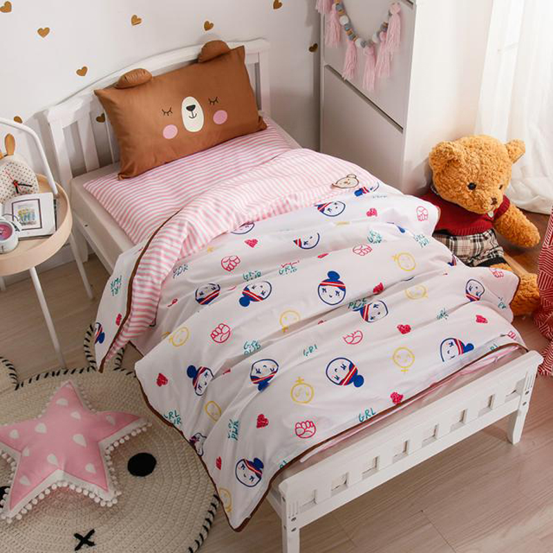 2018 Cartoon Pink Girl Children Kids Baby Crib Bedding Set 3Pc Twin Size Cotton Fabric Duvet Cover Mattress Cover Pillowcase