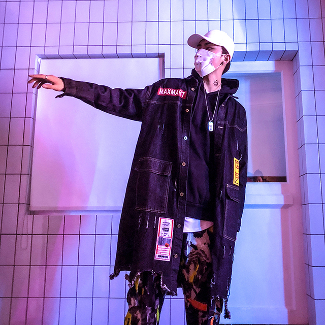 45e768176 Men Streetwear Fashion Hole Hip Hop Punk Style Long Casual Denim ...
